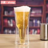 水趣 耐热玻璃杯 个性创意水杯 透明双层啤酒杯 冷饮杯 果汁杯