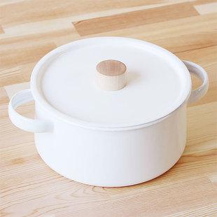 纯白双耳搪瓷锅