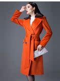 2013正品新貂绒毛领羊毛大衣气质修身中长冬款时尚欧美毛呢外套女