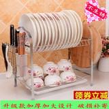 【天天特价】收纳晾放碗柜不锈钢2层沥水碗碟厨房塑料置物盘子架3