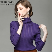 European goods Fall Winter 2018 New lazy perspective hollowed out fashion foreign gas turtleneck sweater bottom purple sweaters female