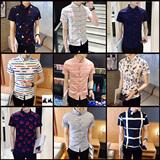夏季新时尚印花男短袖衬衫青年男士韩版修身休闲半袖衬衣潮流寸衫