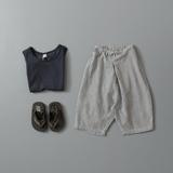 韩国版儿童夏季棉麻条纹高腰大屁屁萝卜裤外贸男女童休闲沙滩垮裤