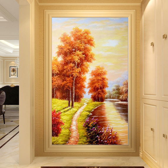欧式玄关装饰画客厅挂画走廊过道山水风景油画竖版餐厅美式壁画图片