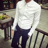2016春夏装新款韩版英文字衣领刺绣白男衬衣古伦仕英伦风男士衬衫