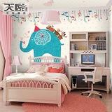 个性儿童房棚顶壁纸 3D立体大型壁画男孩卧室游乐园墙纸手绘大象