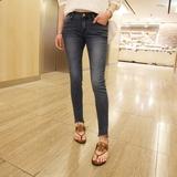 夏季高腰弹力9分牛仔裤女韩国紧身毛边九分裤修身显瘦铅笔小脚裤