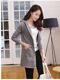 春秋韩版女连帽针织衫长袖纯色条纹修身开衫中长款披肩口袋毛衣