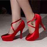 33小码高跟鞋红色新娘礼服鞋香槟蓝黄玫紫绿黑色结婚女鞋旗袍鞋子