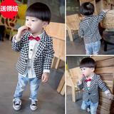 儿童春装男童西服1-2-3-4-5岁男宝宝小西装花童礼服周岁外套韩版