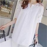 夏装新款韩版短袖衬衫胖mm加肥加大码女装蕾丝T恤纯棉白衬衫上衣
