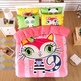 卡通儿童男孩女孩单人纯棉床上用品全棉床单床笠床罩床套四件套