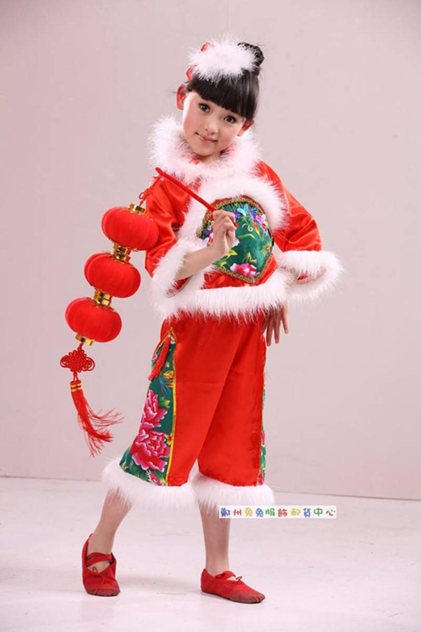 儿童演出服装 唐装 花布衫 名族特色古典 小村姑红灯笼表演服装商品图片