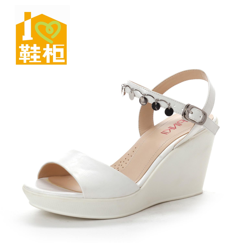鞋柜13年夏新款女鞋1113303215 简约舒适金属坡跟高跟凉鞋商品图片