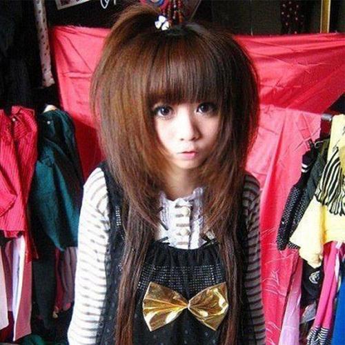 尚靑丝假发非主流女士苛苛内蓬松瘦脸齐刘海斜刘海长直发长发直商品图片