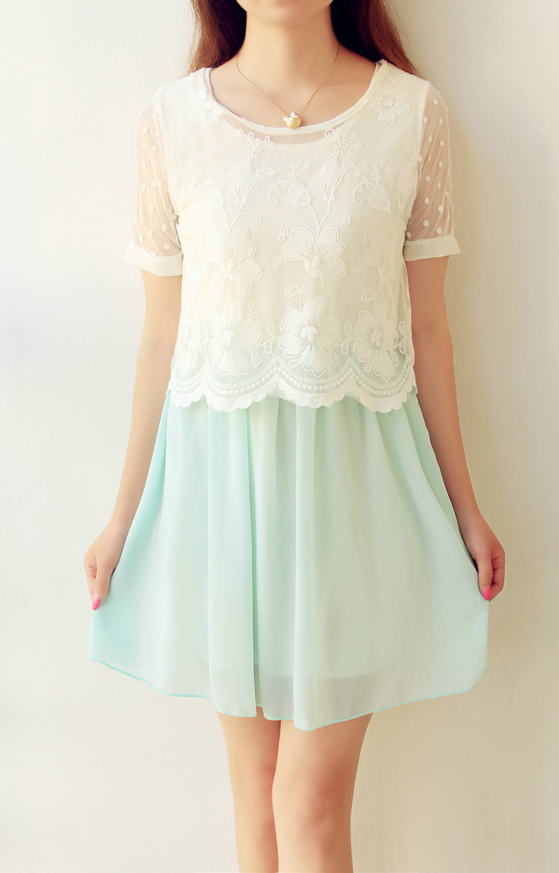 蕾丝两件套连衣裙夏