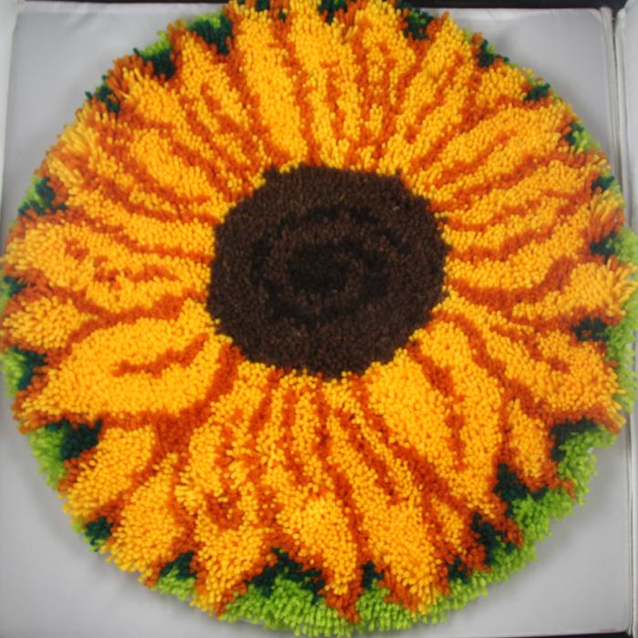 手工繡毛線坐墊地毯繡鉤針地墊腳墊絨線繡圓形毯 dl09向日葵商品圖片圖片