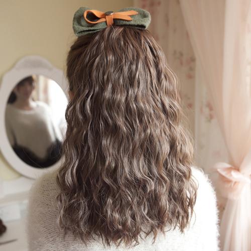 女士假发马尾玉米烫蓬松 假发片 马尾假发中长卷发 绑式假马尾辫商品图片