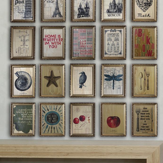 三折特惠北欧复古欧式画框/手工木板画装饰画有框画照片墙背景墙商品图片