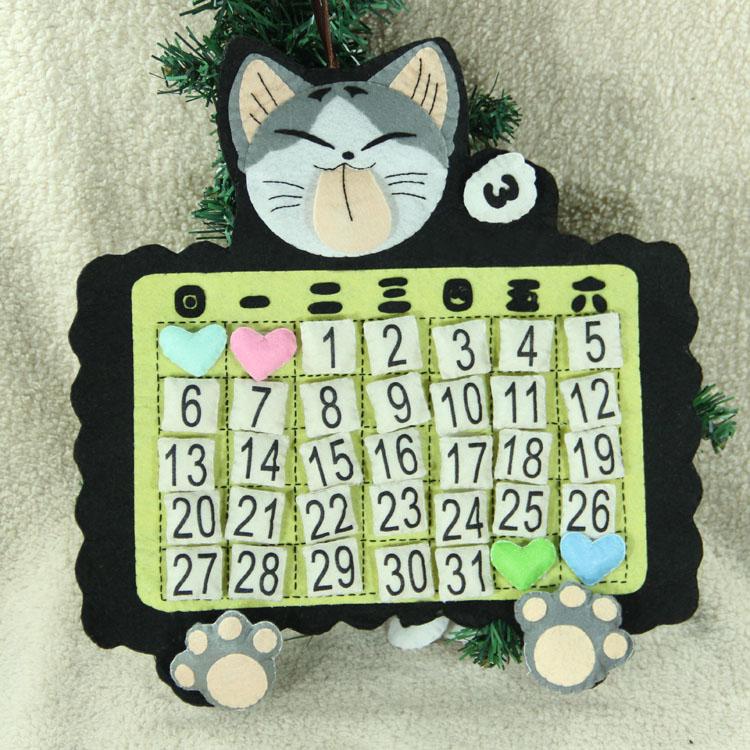 以马不织布手工布艺diy材料包 创意家居万年日历起司猫吐舌头猫商品图片
