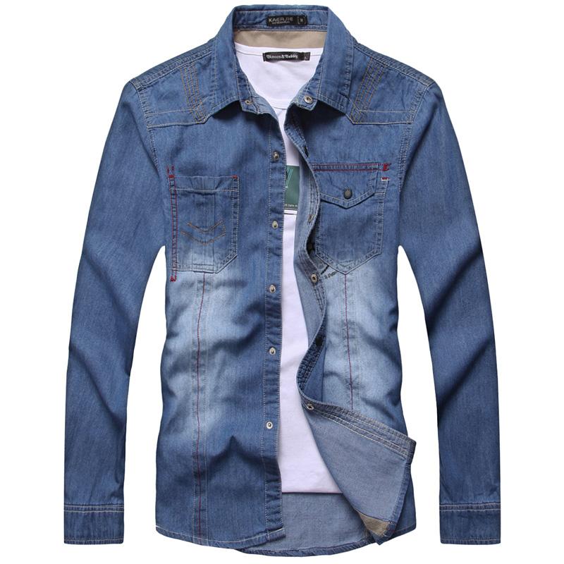 杰克琼斯以纯蓝色为主班尼路卡宾男款男装森马秋装牛仔长袖衬衫男商品图片