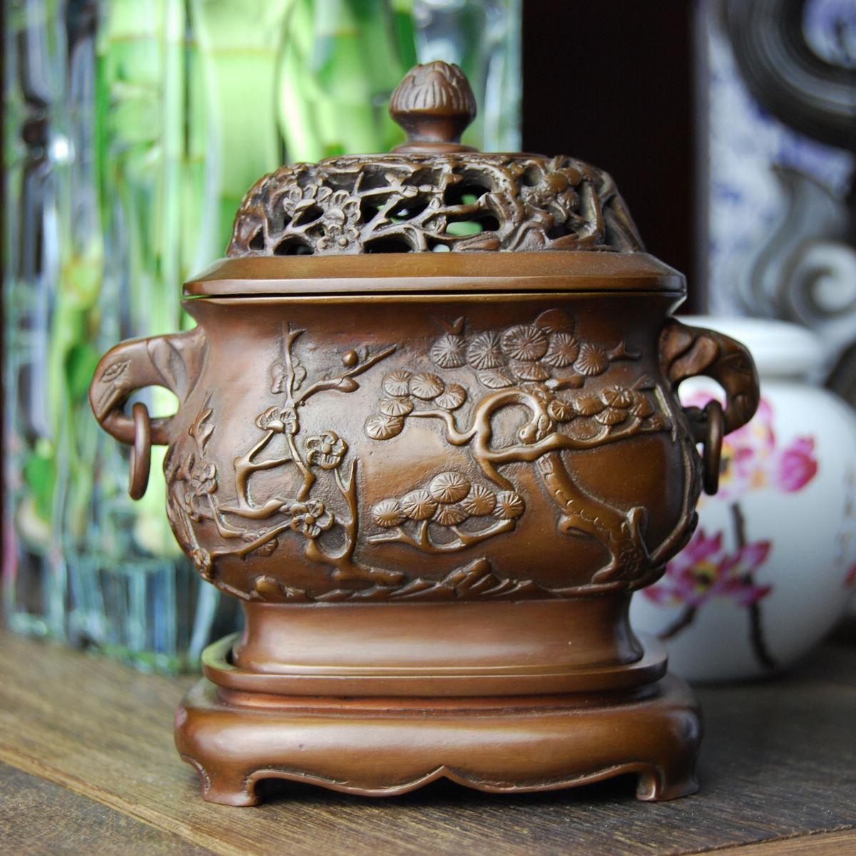 古铜官 纯铜香炉紫铜香薰炉 香拓香道用品香篆铜香炉带盖炉佛教商品图