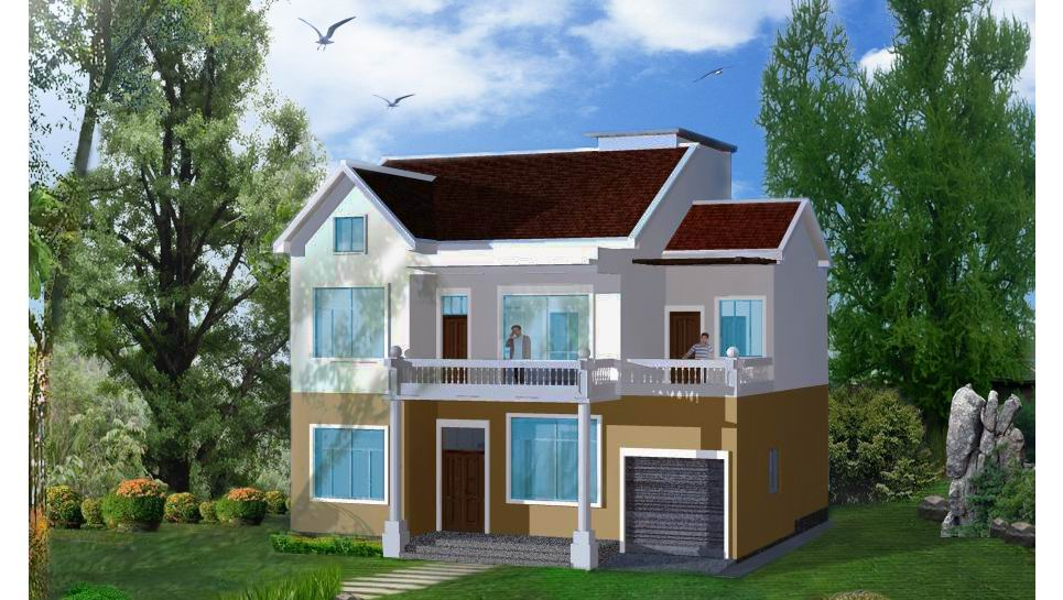 新农村自建房屋设计图四房三卫两层双车库轻钢结构房屋设计图,图片图片