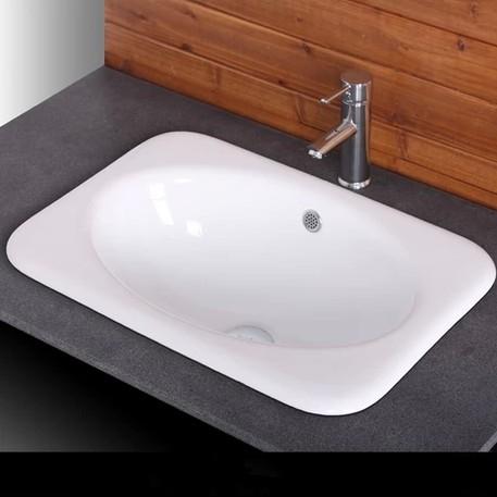 特价 方形半嵌入式台中盆 台上盆 陶瓷洗手盆 卫生间洗面盆 包邮图片