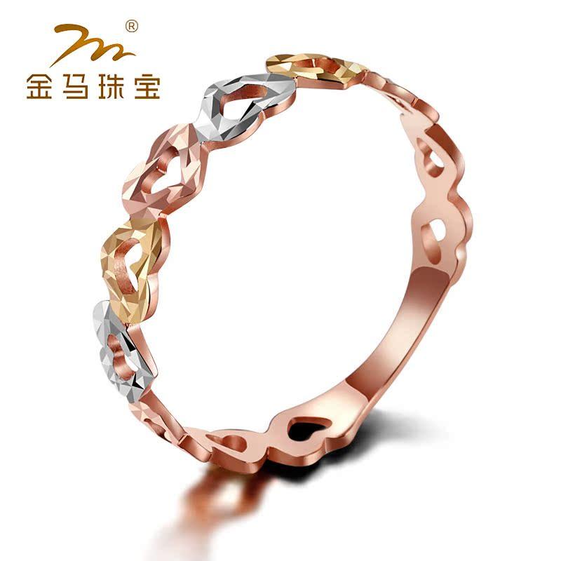 金马珠宝 18k金玫瑰彩金戒指k金女戒子瑞丽时尚一箭穿心免费刻字商品