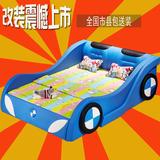 真皮儿童床男孩1.5米单人床卡通汽车床1.2米带护栏创意女孩儿童床