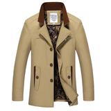 狐行天下秋冬季薄款男士风衣型立领中长款棉大衣修身韩版大码男装