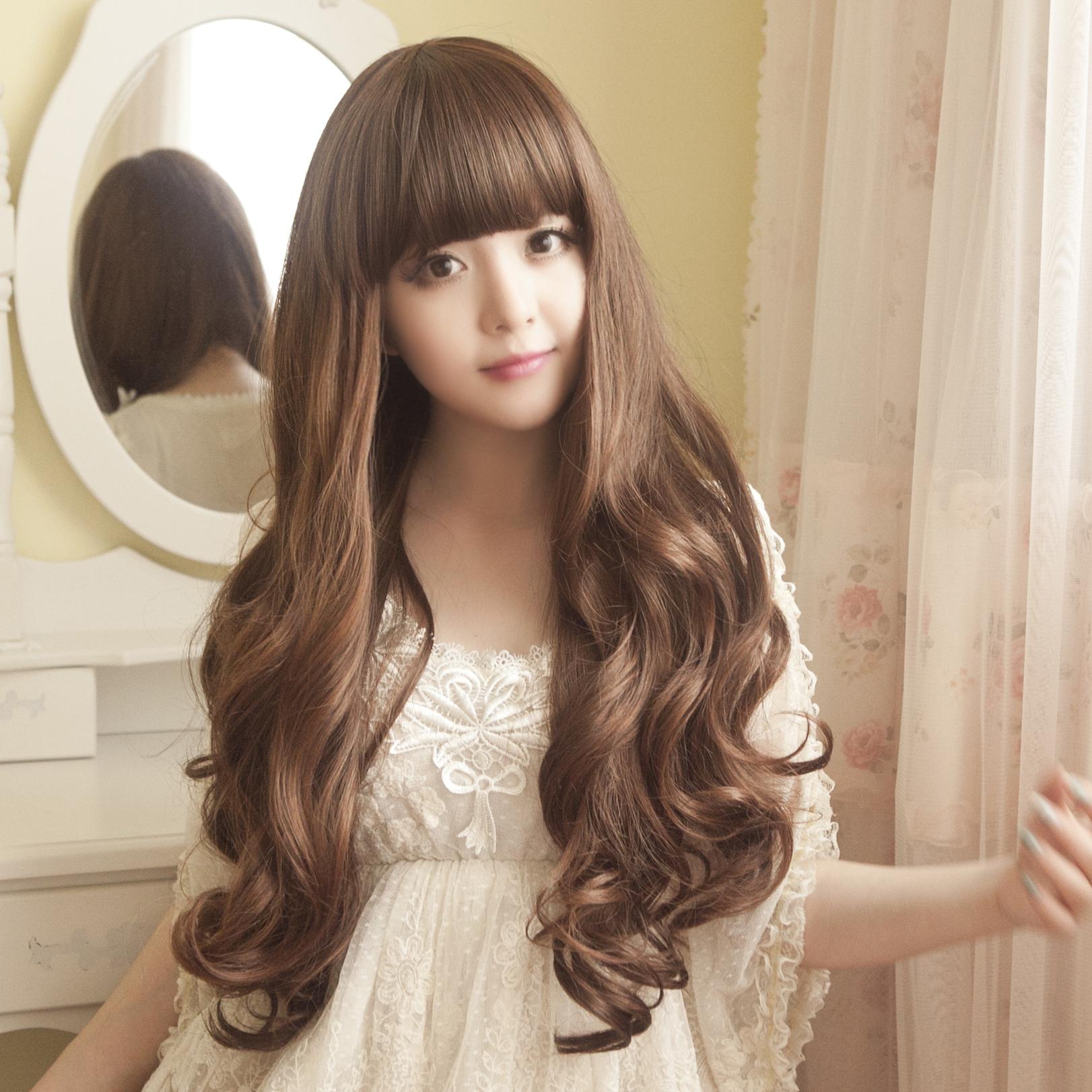 假发女长卷发齐刘海逼真实拍梨花蓬松新款女士长卷大波浪假发头套商品图片
