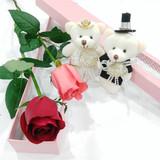 1朵红粉白香槟蓝色妖姬单支玫瑰礼盒鲜花生日七夕情人节小熊礼物
