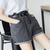 红记夏季新款韩版高腰宽松灰色牛仔短裤女松紧腰显瘦卷边阔腿热裤