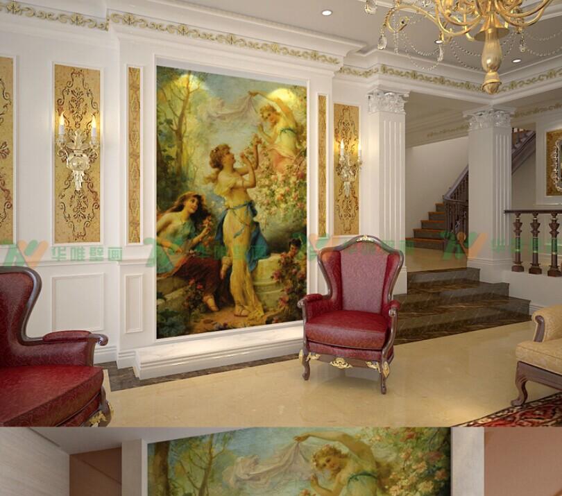 欧式油画大型壁画 玄关餐厅走廊客厅电视背景墙纸壁纸墙画 采摘商品图片
