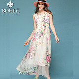 2016夏季新款波西米亚真丝印花连衣裙沙滩裙白色大码海边度假长裙