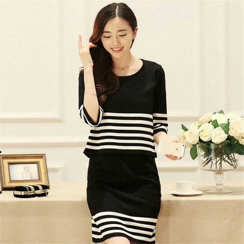 淑域 早秋季新款韩版针织衫女士条纹中长款连衣裙 两件套套装毛衣商品图片