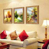 热卖客厅三联油画手绘现代组合壁画欧式风景山水画玄关装饰画竖版