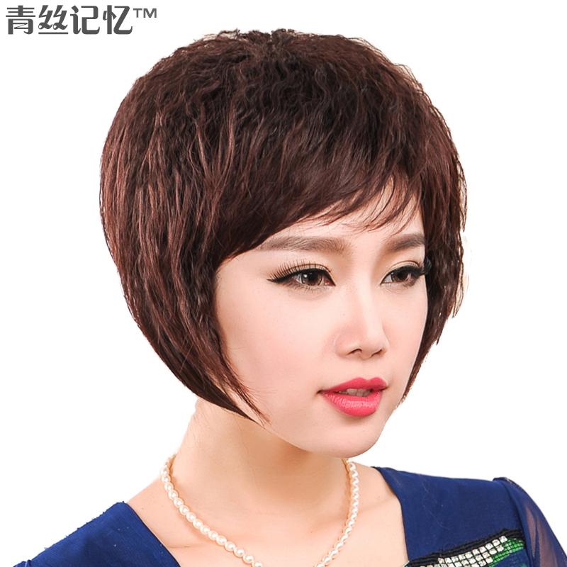 新款女士中老年假发 女 短发 蓬松时尚玉米烫30%真发假发套短卷发商品图片
