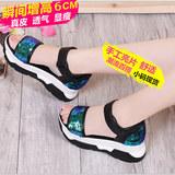 夏季新款坡跟凉鞋女韩版潮真皮厚底高跟露趾百搭舒适女鞋33小码32