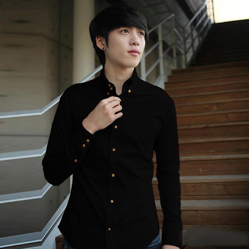 2014秋装纯色男士长袖衬衫休闲潮流韩版修身型男装衬衣青少年衣服商品