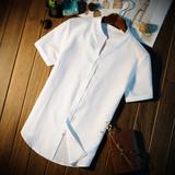 亚麻衬衫男短袖修身韩版纯色棉麻薄款无领中式休闲白色麻料衬衣男