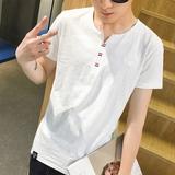 夏季男士纯色短袖t恤男 纯棉T恤男 V领白色半袖打底衫体恤 男衣服