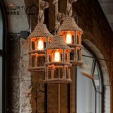美式乡村铁艺麻绳灯loft创意个性复古餐厅酒吧咖啡厅吧台小吊灯