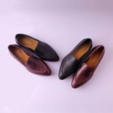 [转卖]欧美新款everlane真皮尖头乐福鞋女皮鞋低跟粗跟