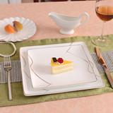 创意金边陶瓷盘子菜盘西餐盘牛排盘点心/早餐/蛋糕盘碟子方盘餐具