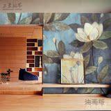 3D无缝客厅电视餐厅卧室沙发背景墙壁纸壁画墙纸蓝色复古油画荷花