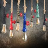 工业风麻绳灯饰美式乡村田园复古创意酒吧台咖啡厅餐厅吧台吊灯具