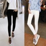 白色打底裤女高腰薄款外穿九分小脚裤大码弹力牛仔裤显瘦铅笔裤潮