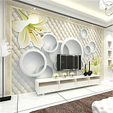 3D立体简约时尚电视背景无缝墙纸大型壁画 无纺布壁纸 金色花朵
